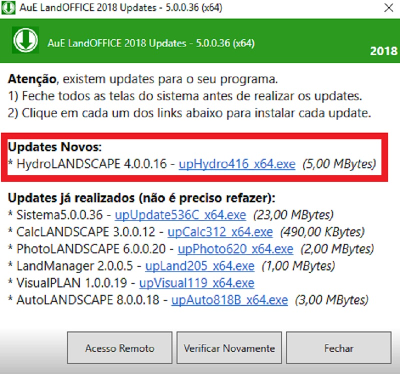 Realizando updates através do AuE LandOFFICE