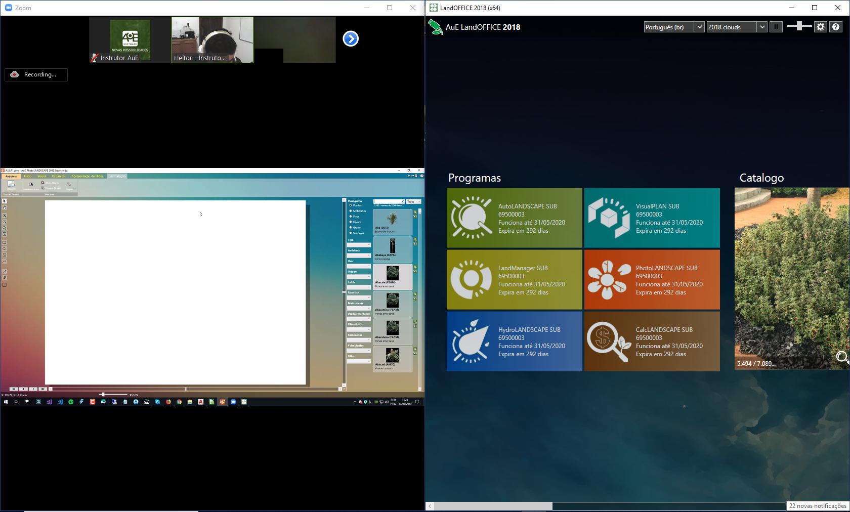Sistema de videoconferencia do curso da AuE Software