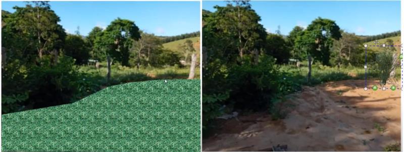 Resultado de inserta un mapa poco realista a la izquierda y un mapa mas compatible con la calidad de la foto a la derecha