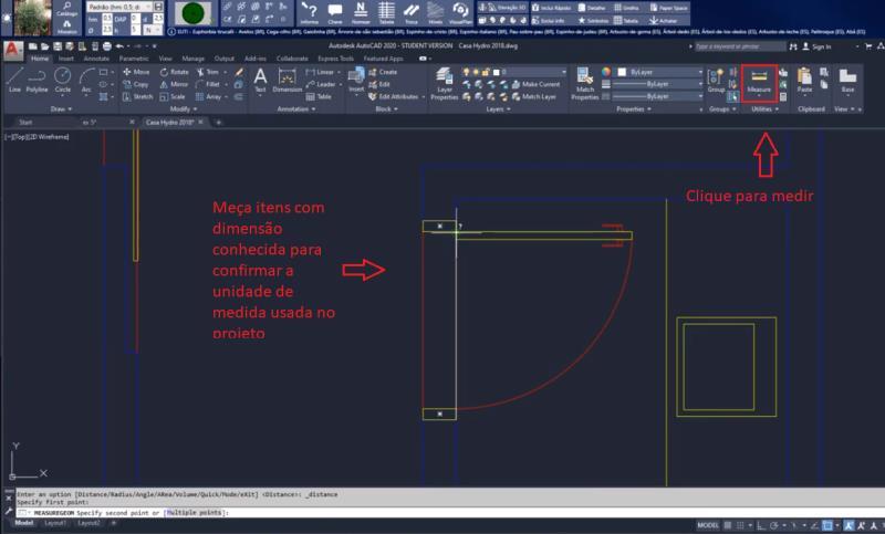 Medimos el objeto con la medida que ya conocemos (puerta) usando la herramienta MEASURE no AutoCAD
