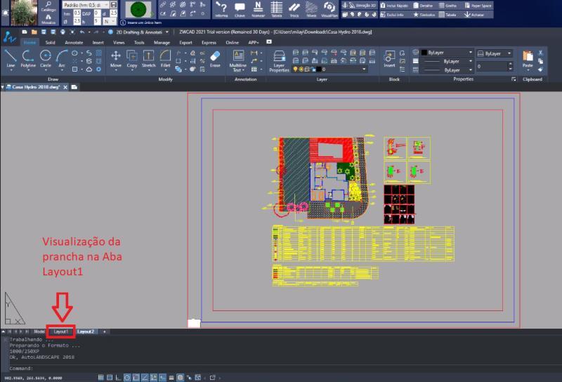 Plancha de presentación en la pestaña Layout1, en AutoCAD