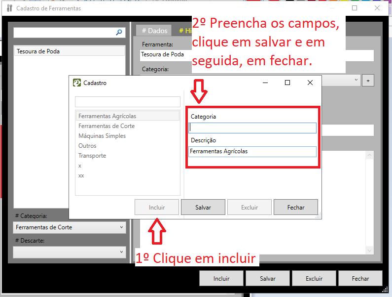 <br>Registrando categoria de herramientas en LandMANAGER