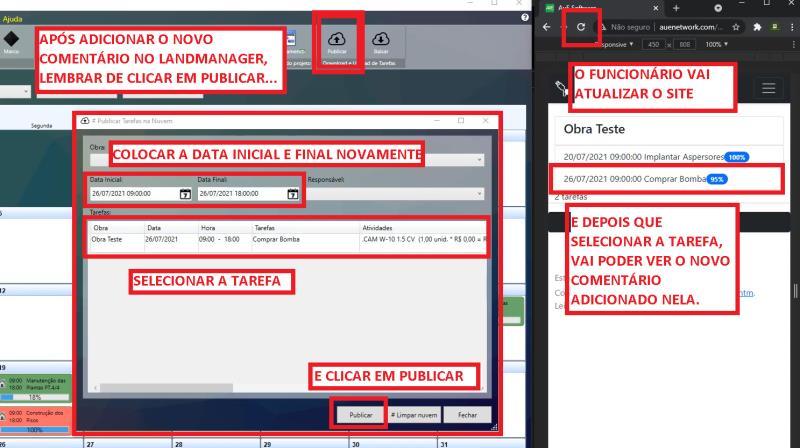 Publicación de tarea en LandMANAGER y visualización en el sitio WEB